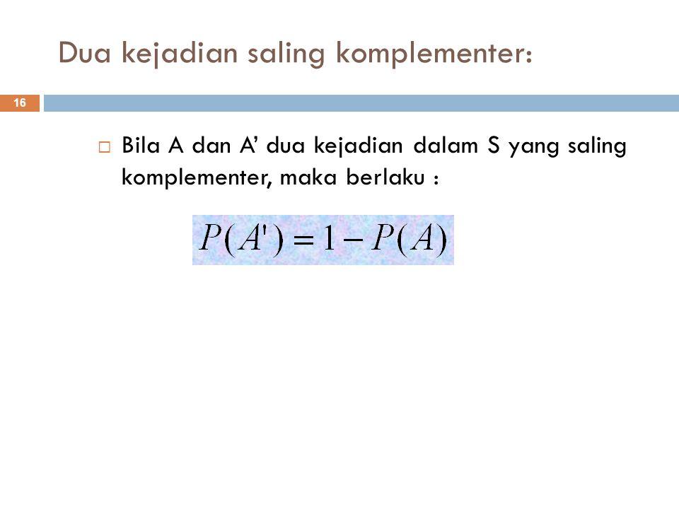 Dua kejadian saling komplementer:  Bila A dan A' dua kejadian dalam S yang saling komplementer, maka berlaku : 16