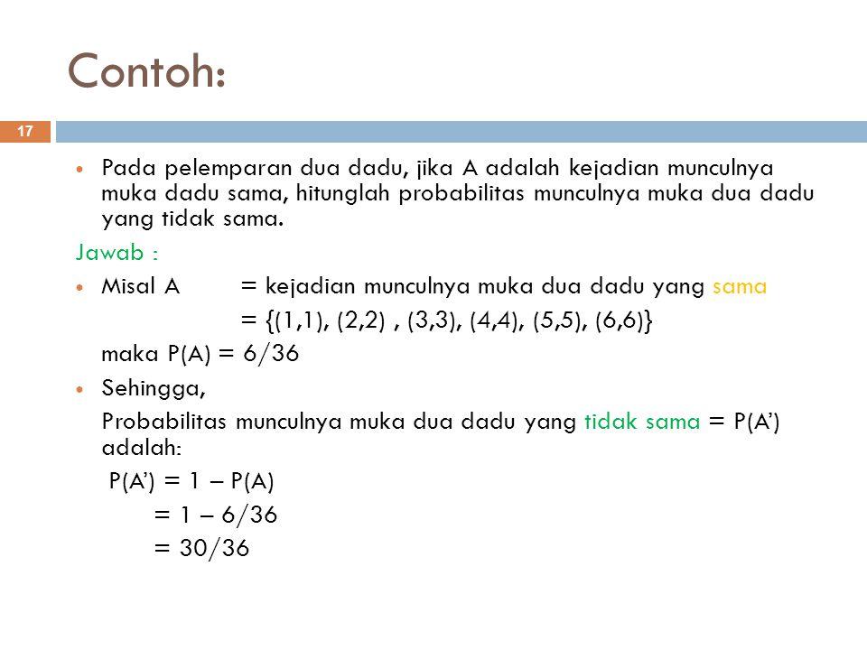 Contoh: 17 Pada pelemparan dua dadu, jika A adalah kejadian munculnya muka dadu sama, hitunglah probabilitas munculnya muka dua dadu yang tidak sama.