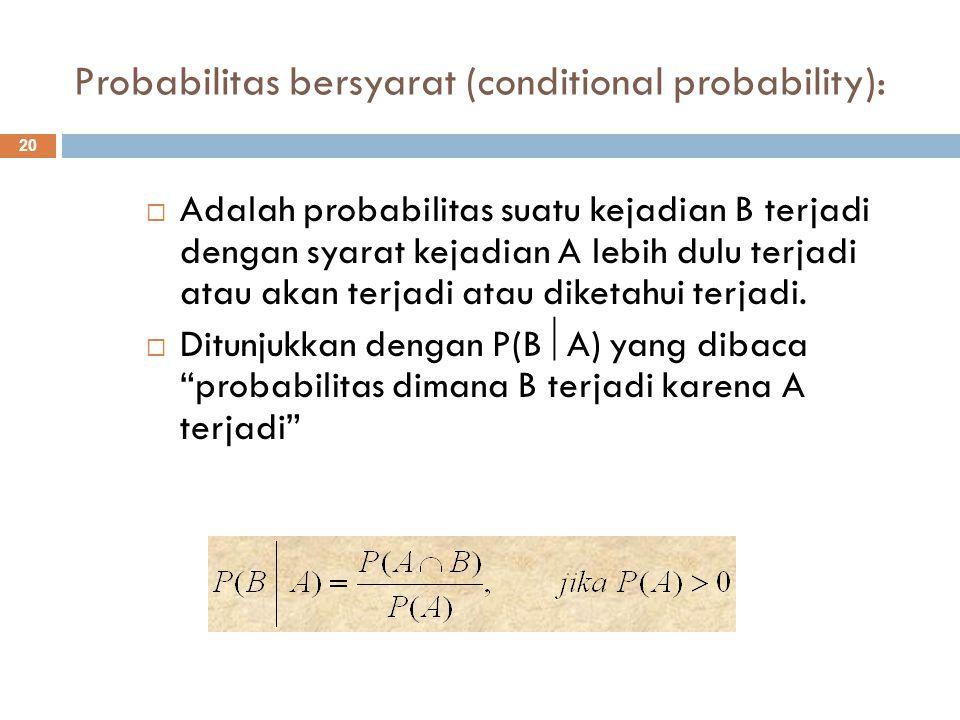 Probabilitas bersyarat (conditional probability): 20  Adalah probabilitas suatu kejadian B terjadi dengan syarat kejadian A lebih dulu terjadi atau a