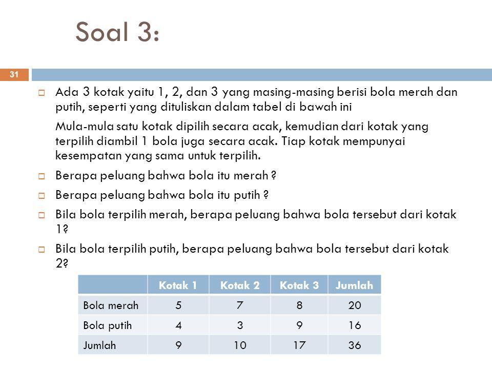 Soal 3: 31  Ada 3 kotak yaitu 1, 2, dan 3 yang masing-masing berisi bola merah dan putih, seperti yang dituliskan dalam tabel di bawah ini Mula-mula