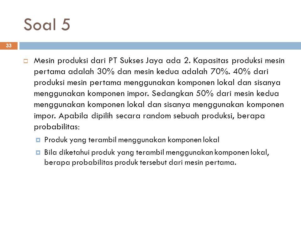 Soal 5 33  Mesin produksi dari PT Sukses Jaya ada 2. Kapasitas produksi mesin pertama adalah 30% dan mesin kedua adalah 70%. 40% dari produksi mesin