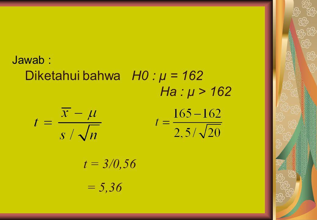 Uji yang melibatkan Jumlah data sedikit (distribusi t) Contoh : Diketahui 20 orang mahasiswa Unitas memiliki rata-rata tinggi 165 cm, dengan s 2 = 6,2