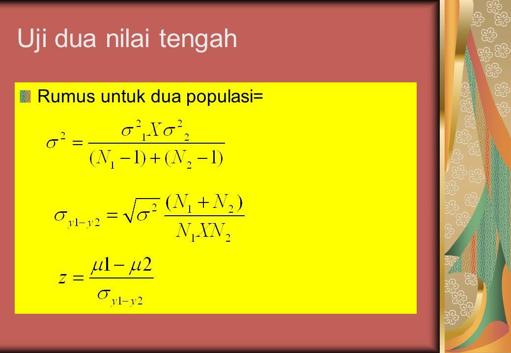Uji dua nilai tengah Jika data yang diambil merupakan data populasi, maka penyebaran atau dsitribusi sampel akan bersifat mengikuti kurva normal dan d