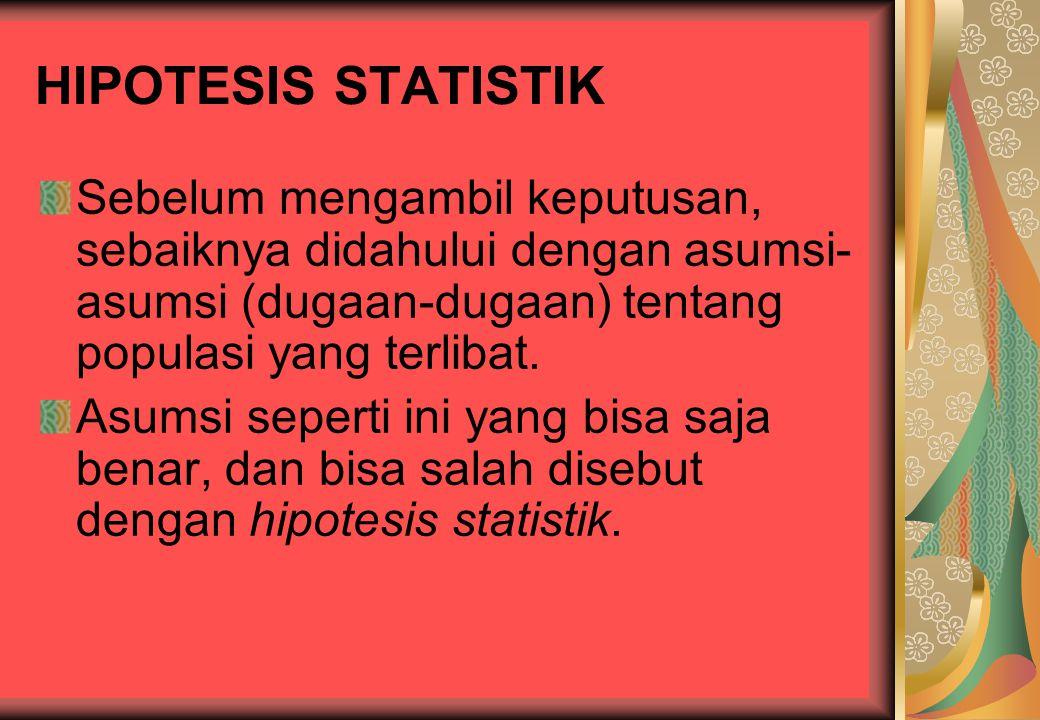 TEORI KEPUTUSAN STATISTIK Dalam sehari-hari kita sering diminta untuk mengambil keputusan mengenai populasi berdasarkan informasi sampel. Keputusan in
