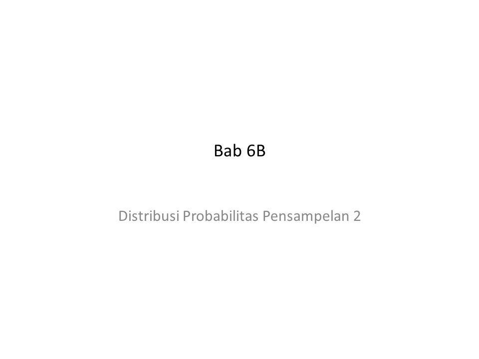 ------------------------------------------------------------------------------------------------------ Bab 6B ------------------------------------------------------------------------------------------------------ Contoh 20 Sampel acak dari populasi X dan Y adalah X 12 11 6 5 7 9 10 8 6 9 Y 25 32 41 28 25 43 37 35 28 31 Tentukan distribusi probabilitas pensampelan dan kekeliruan baku dari selisih proporsi di atas rerata (anggap DPP adalah DP normal)