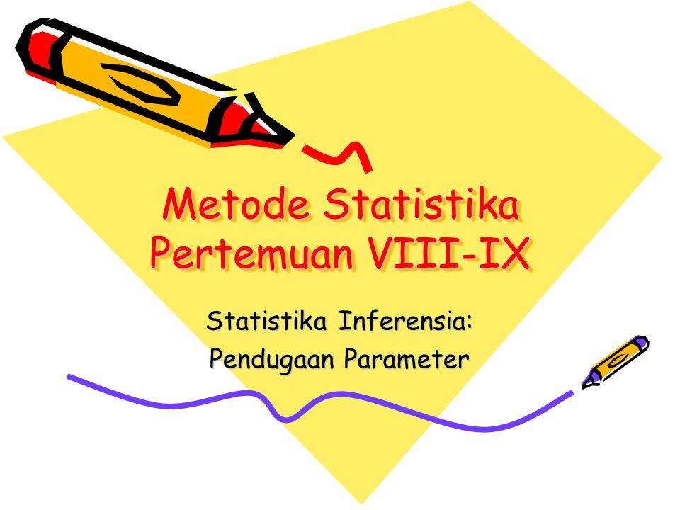 Metode Statistika Pertemuan VIII-IX Statistika Inferensia: Pendugaan Parameter