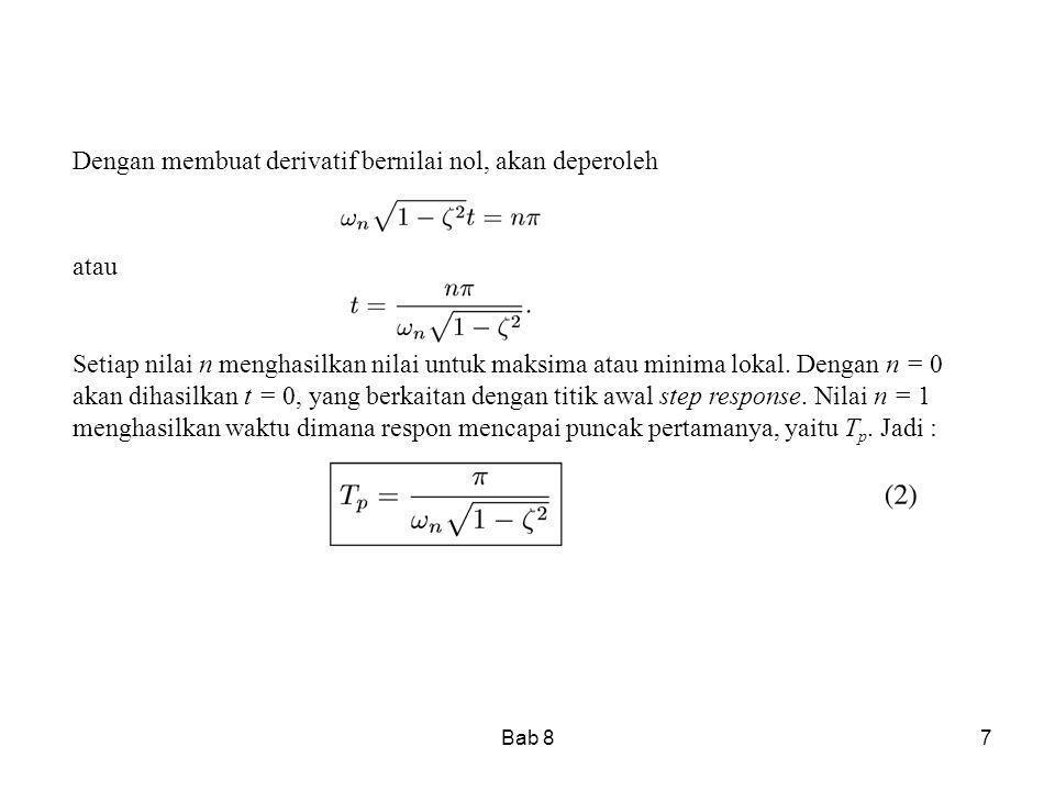 Bab 87 Dengan membuat derivatif bernilai nol, akan deperoleh atau Setiap nilai n menghasilkan nilai untuk maksima atau minima lokal. Dengan n = 0 akan