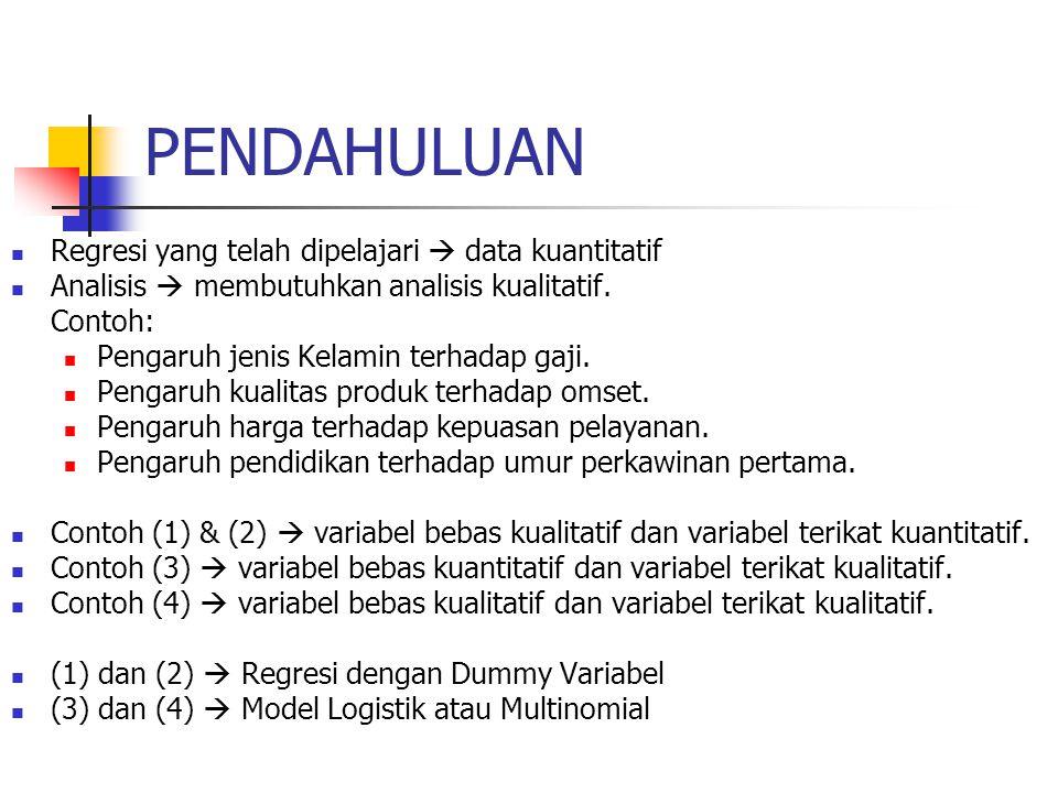 PENDEFINISIAN Sehingga modelnya menjadi : Y =  1 +  2 D 2 +  3 D 3 +  X + u Apa yang akan terjadi bila model ini diestimasi dengan OLS .