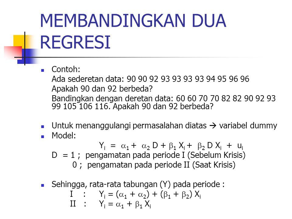 MEMBANDINGKAN DUA REGRESI Contoh: Ada sederetan data: 90 90 92 93 93 93 93 94 95 96 96 Apakah 90 dan 92 berbeda.