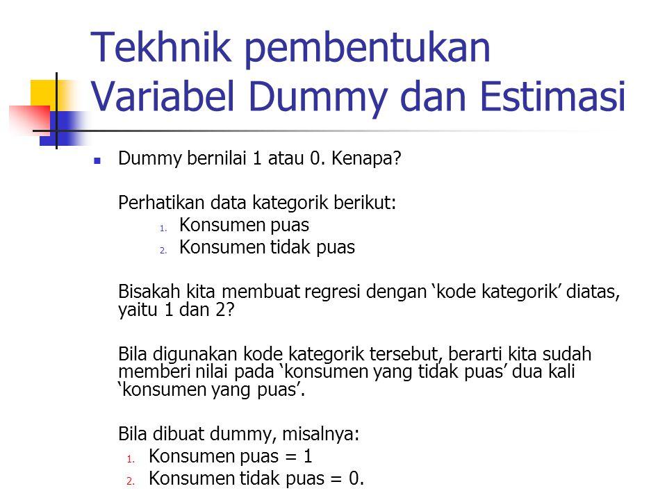 Regresi yang dibuat menunjukkan kondisi dimana konsumen merasa puas (Dummy berharga 1  Dummy ada dalam model), dan kondisi sebaliknya (Dummy berharga 0  Dummy 'hilang' dari model).