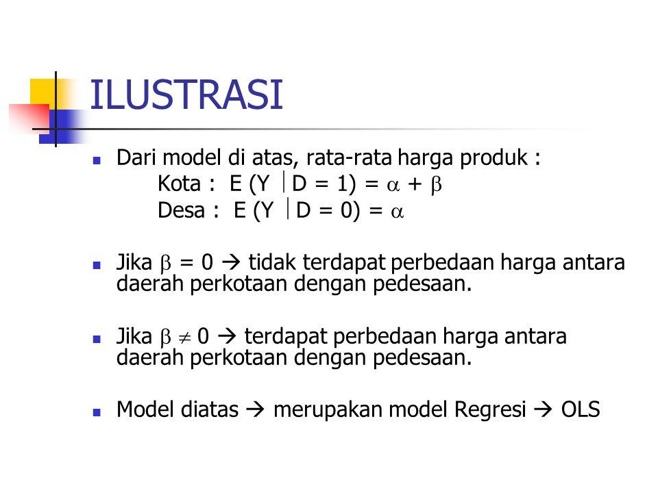 ILUSTRASI Misal hasil estimasi dengan OLS untuk model diatas didapat: Y = 9,4 + 16 D t (53,22) (6,245) R 2 = 96,54% Metode apa yang digunakan untuk membuktikan bahwa  = 0 atau   0.