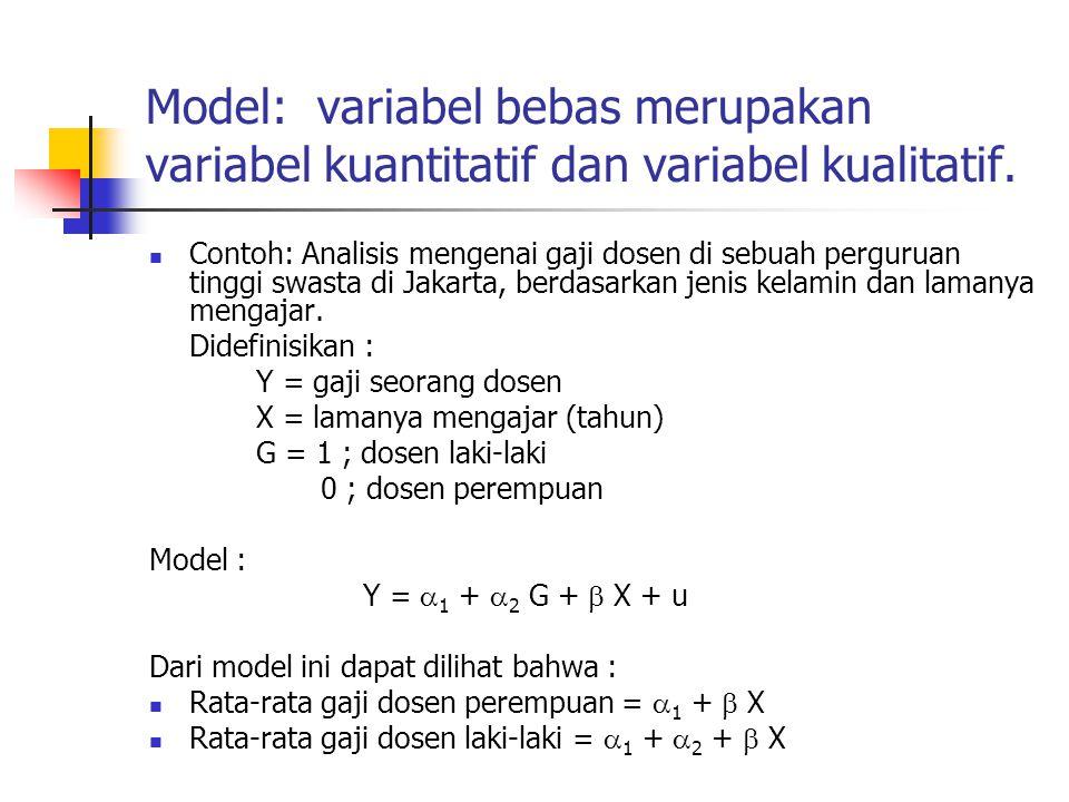 Manfaat Lain Variabel Dummy Dalam analisis menggunakan data time series, variabel dummy bermanfaat untuk membandingkan suatu kurun waktu dengan kurun waktu tertentu.