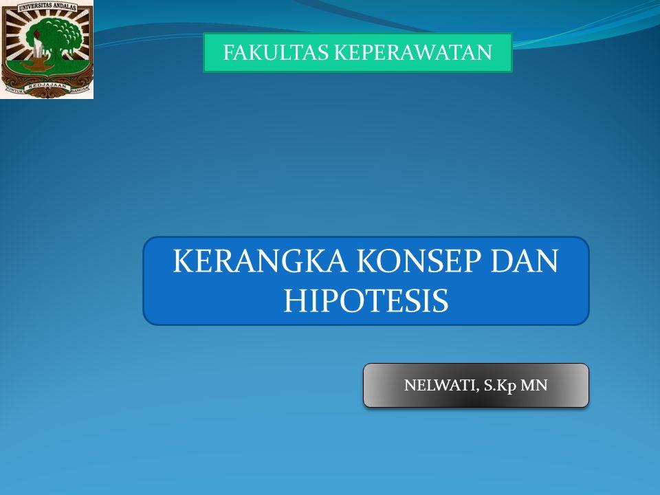 KERANGKA KONSEP DAN HIPOTESIS NELWATI, S.Kp MN FAKULTAS KEPERAWATAN