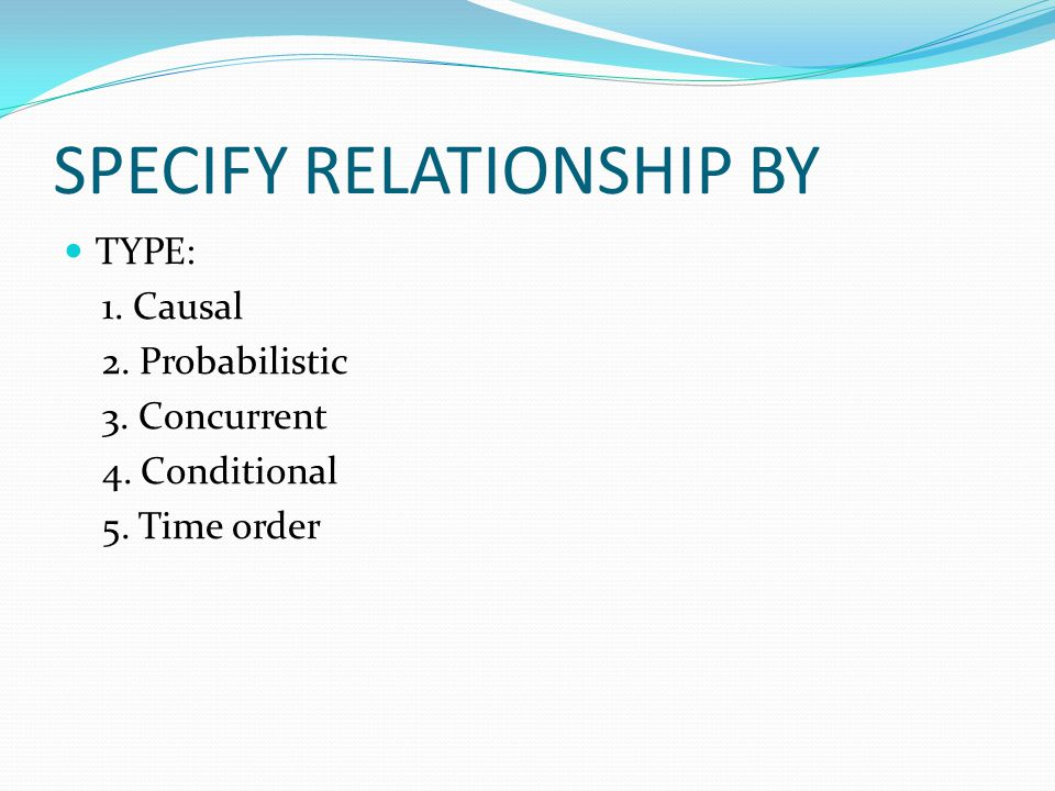 SPECIFY RELATIONSHIP BY TYPE: 1. Causal 2. Probabilistic 3. Concurrent 4. Conditional 5. Time order