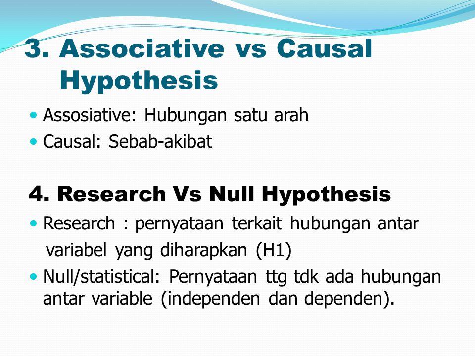 3. Associative vs Causal Hypothesis Assosiative: Hubungan satu arah Causal: Sebab-akibat 4. Research Vs Null Hypothesis Research : pernyataan terkait