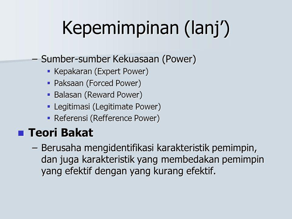 Kepemimpinan (lanj') –Sumber-sumber Kekuasaan (Power)  Kepakaran (Expert Power)  Paksaan (Forced Power)  Balasan (Reward Power)  Legitimasi (Legit