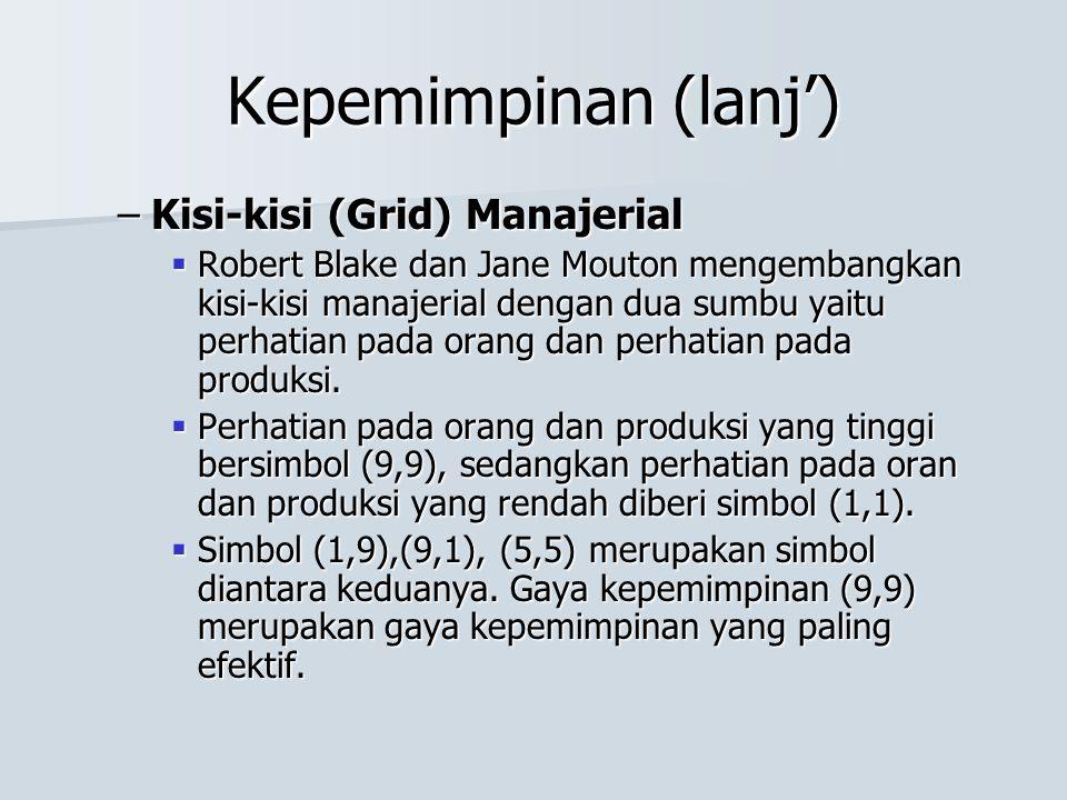 Kepemimpinan (lanj') –Kisi-kisi (Grid) Manajerial  Robert Blake dan Jane Mouton mengembangkan kisi-kisi manajerial dengan dua sumbu yaitu perhatian p