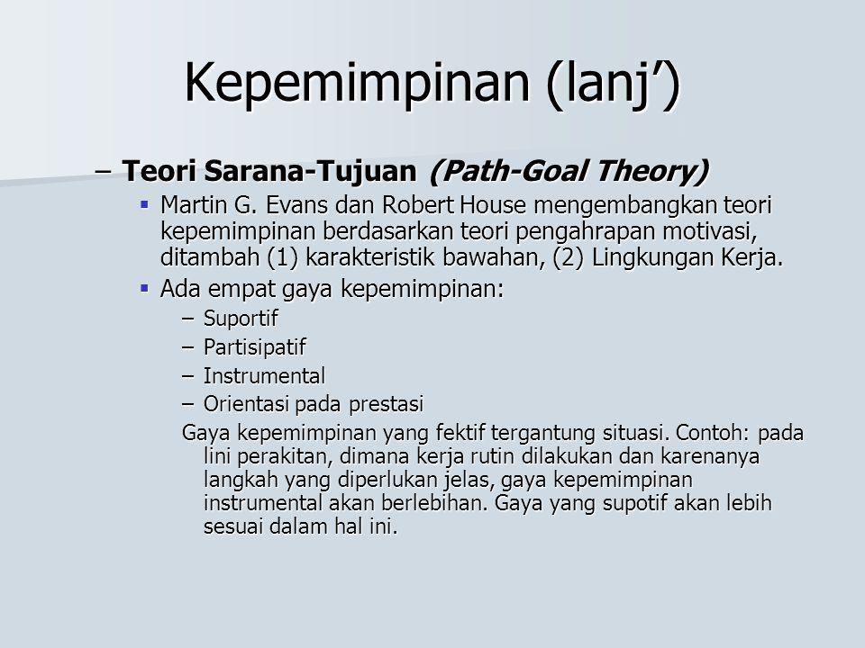 Kepemimpinan (lanj') –Teori Sarana-Tujuan (Path-Goal Theory)  Martin G. Evans dan Robert House mengembangkan teori kepemimpinan berdasarkan teori pen