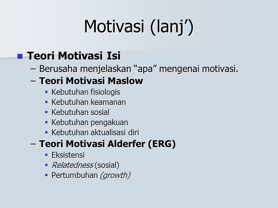 """Motivasi (lanj') Teori Motivasi Isi Teori Motivasi Isi –Berusaha menjelaskan """"apa"""" mengenai motivasi. –Teori Motivasi Maslow  Kebutuhan fisiologis """