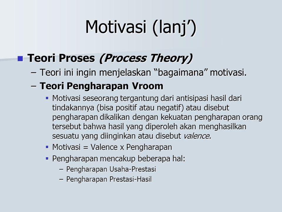 "Motivasi (lanj') Teori Proses (Process Theory) Teori Proses (Process Theory) –Teori ini ingin menjelaskan ""bagaimana"" motivasi. –Teori Pengharapan Vro"