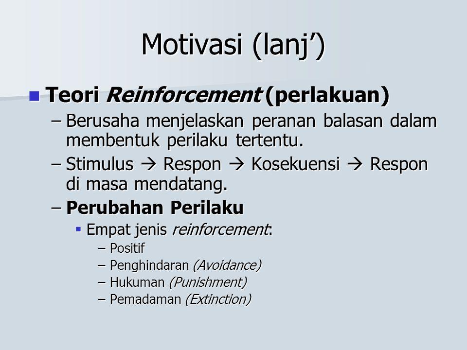 Motivasi (lanj') Teori Reinforcement (perlakuan) Teori Reinforcement (perlakuan) –Berusaha menjelaskan peranan balasan dalam membentuk perilaku terten