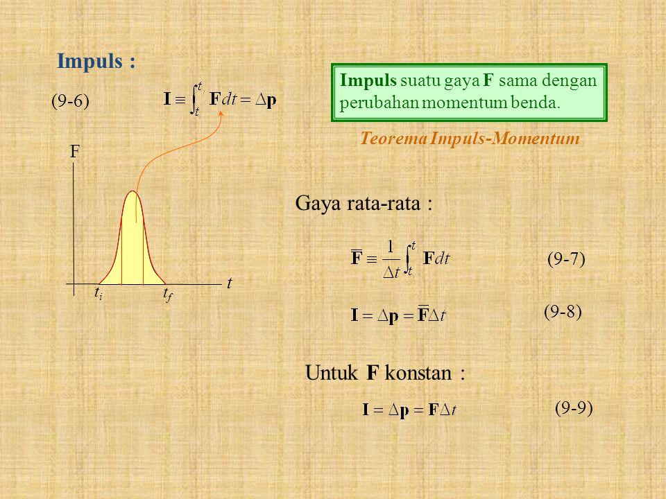 Impuls : (9-6) Impuls suatu gaya F sama dengan perubahan momentum benda. Teorema Impuls-Momentum F t titi tftf (9-7) Gaya rata-rata : Untuk F konstan
