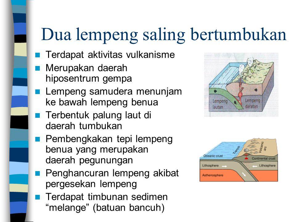 Dua lempeng saling bertumbukan Terdapat aktivitas vulkanisme Merupakan daerah hiposentrum gempa Lempeng samudera menunjam ke bawah lempeng benua Terbe