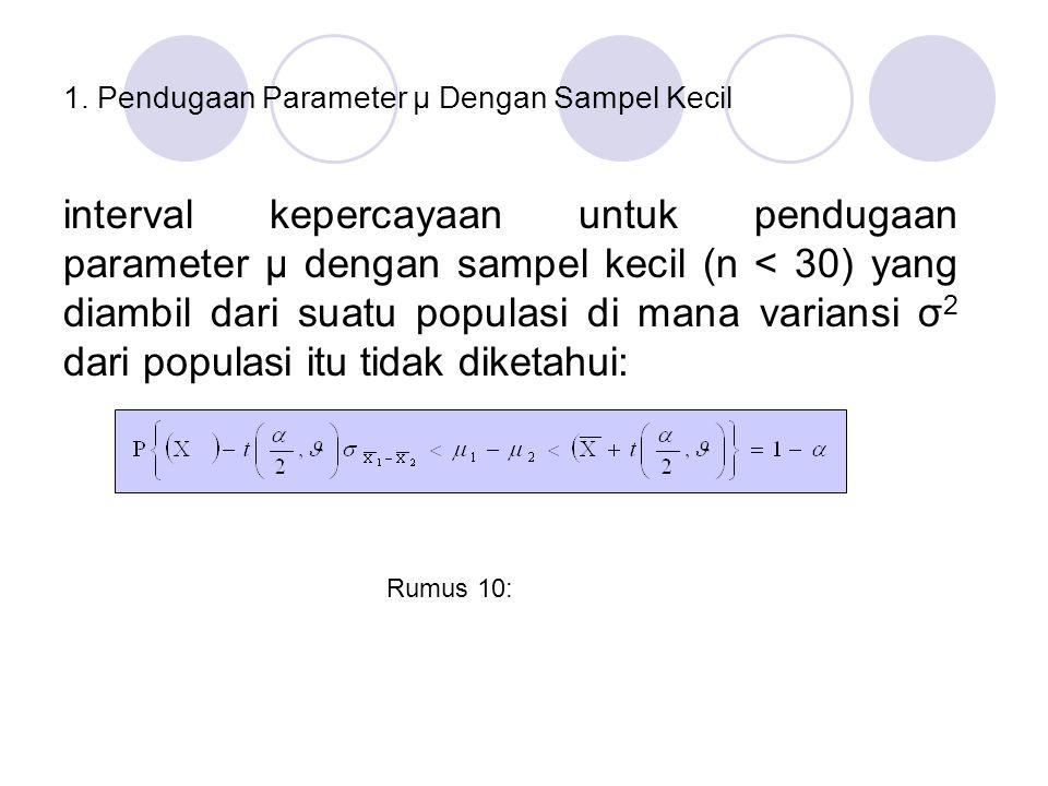 Pendugaan Parameter Beda Dua Rata-Rata ( µ 1 - µ 1 ) dengan Sampel Kecil Misalkan diketahui dua populasi masing-masing mempunyai ratarata µ 1 dan µ 2 dan distribusinya mendekati normal.