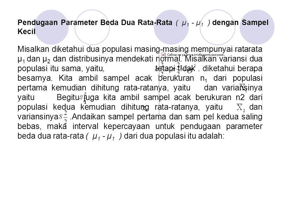 Pendugaan Parameter Beda Dua Rata-Rata ( µ 1 - µ 1 ) dengan Sampel Kecil Misalkan diketahui dua populasi masing-masing mempunyai ratarata µ 1 dan µ 2