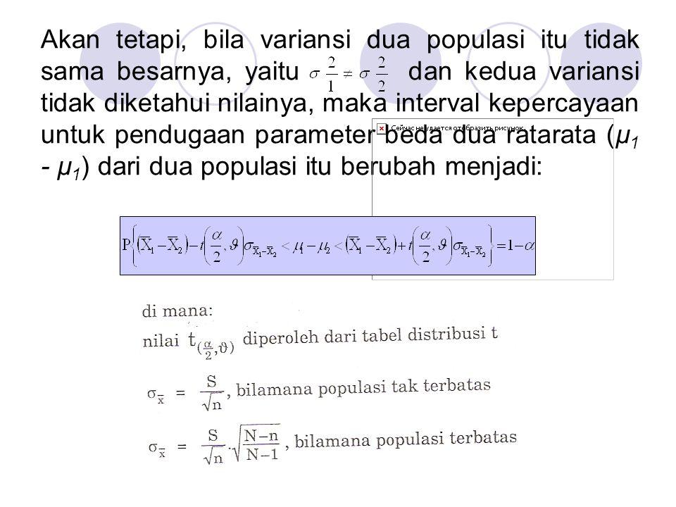 Akan tetapi, bila variansi dua populasi itu tidak sama besarnya, yaitu dan kedua variansi tidak diketahui nilainya, maka interval kepercayaan untuk pe