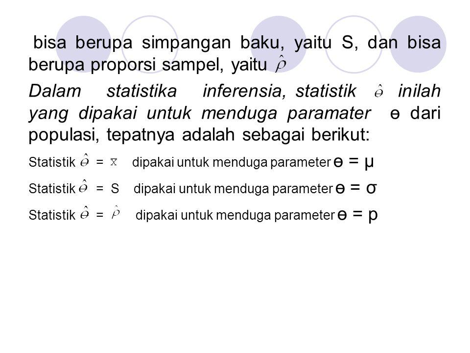 bisa berupa simpangan baku, yaitu S, dan bisa berupa proporsi sampel, yaitu Dalam statistika inferensia, statistik inilah yang dipakai untuk menduga p