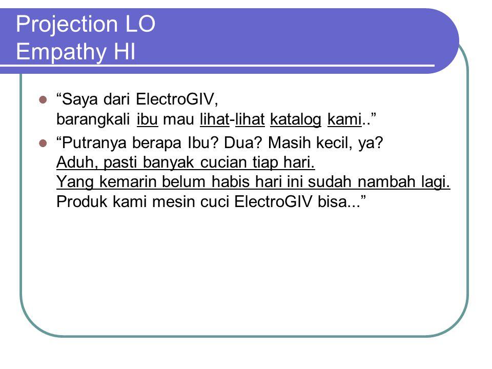 Projection LO Empathy HI Saya dari ElectroGIV, barangkali ibu mau lihat-lihat katalog kami.. Putranya berapa Ibu.