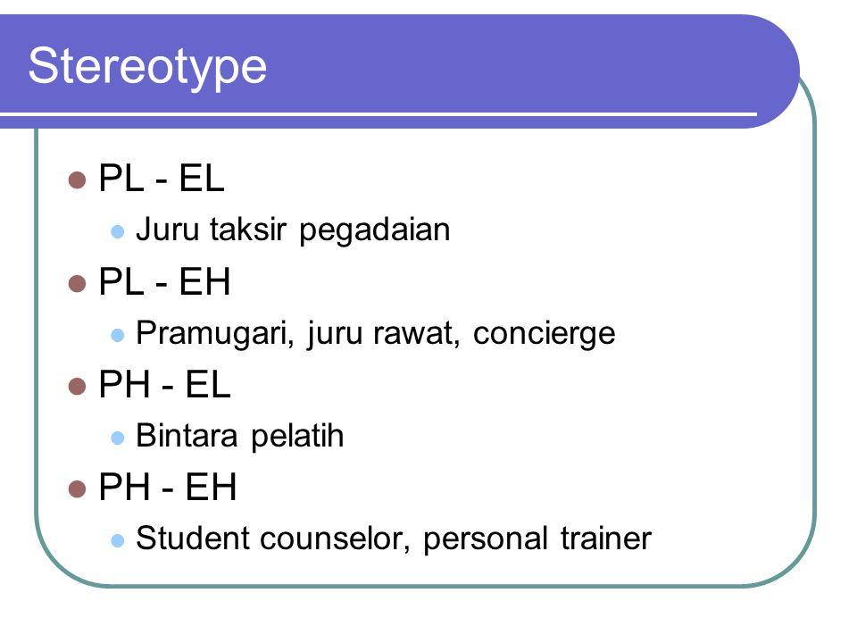 Stereotype PL - EL Juru taksir pegadaian PL - EH Pramugari, juru rawat, concierge PH - EL Bintara pelatih PH - EH Student counselor, personal trainer