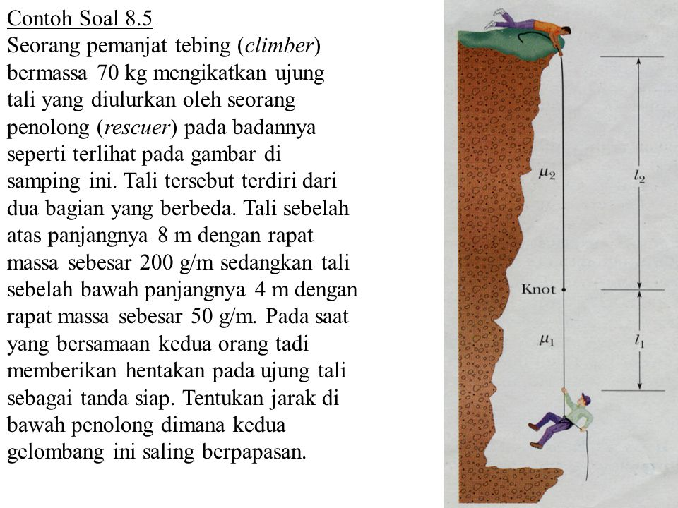 Contoh Soal 8.5 Seorang pemanjat tebing (climber) bermassa 70 kg mengikatkan ujung tali yang diulurkan oleh seorang penolong (rescuer) pada badannya s