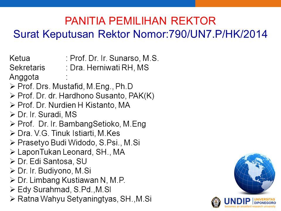 PANITIA PEMILIHAN REKTOR Surat Keputusan Rektor Nomor:790/UN7.P/HK/2014 Ketua: Prof. Dr. Ir. Sunarso, M.S. Sekretaris: Dra. Herniwati RH, MS Anggota: