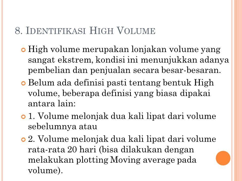 8. I DENTIFIKASI H IGH V OLUME High volume merupakan lonjakan volume yang sangat ekstrem, kondisi ini menunjukkan adanya pembelian dan penjualan secar