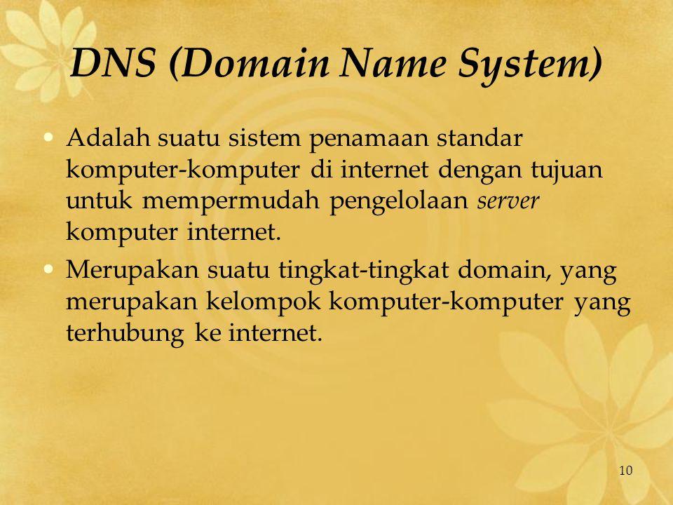 10 DNS (Domain Name System) Adalah suatu sistem penamaan standar komputer-komputer di internet dengan tujuan untuk mempermudah pengelolaan server komp
