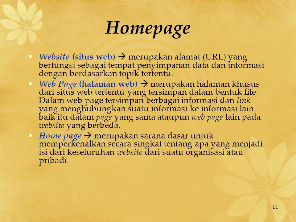 11 Homepage Website (situs web)  merupakan alamat (URL) yang berfungsi sebagai tempat penyimpanan data dan informasi dengan berdasarkan topik tertent