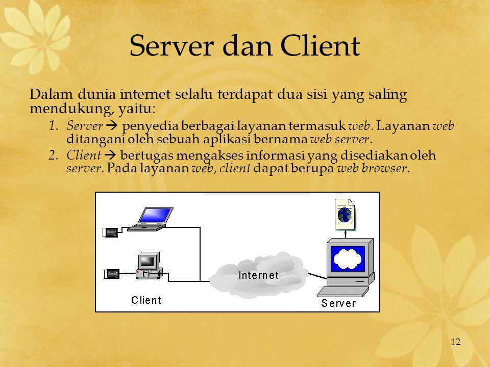 12 Server dan Client Dalam dunia internet selalu terdapat dua sisi yang saling mendukung, yaitu: 1.Server  penyedia berbagai layanan termasuk web. La