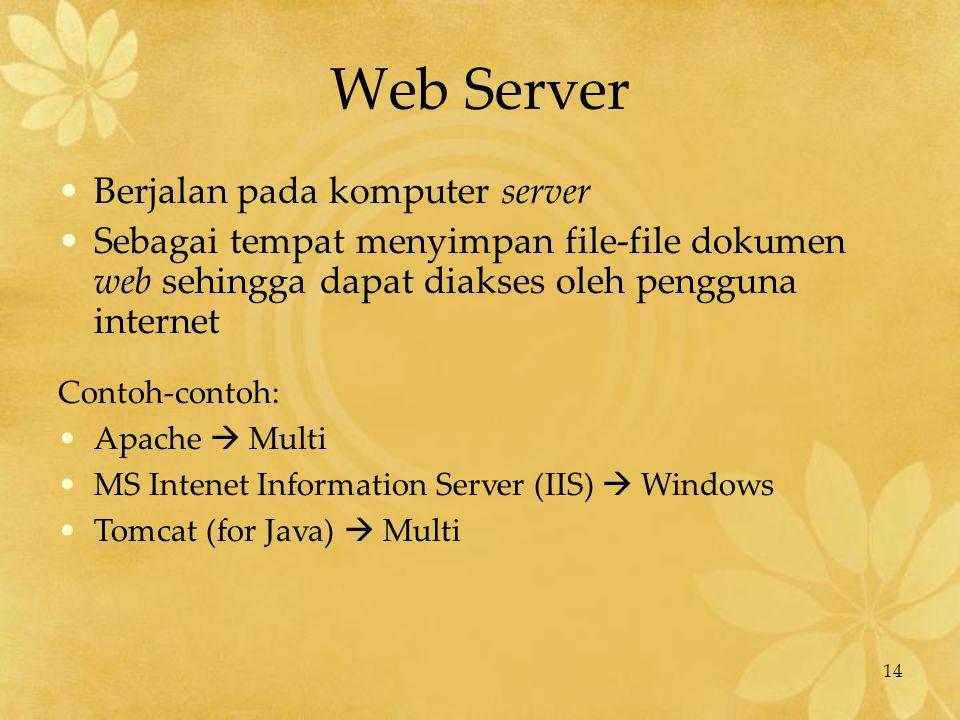 14 Web Server Berjalan pada komputer server Sebagai tempat menyimpan file-file dokumen web sehingga dapat diakses oleh pengguna internet Contoh-contoh