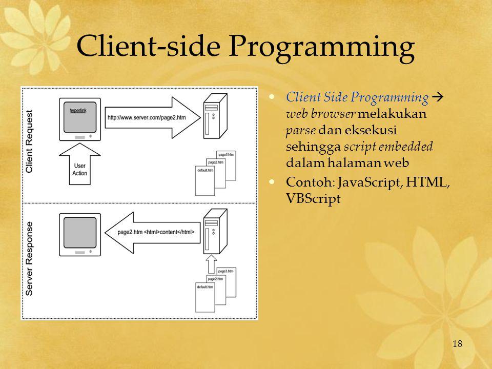 18 Client-side Programming Client Side Programming  web browser melakukan parse dan eksekusi sehingga script embedded dalam halaman web Contoh: JavaS