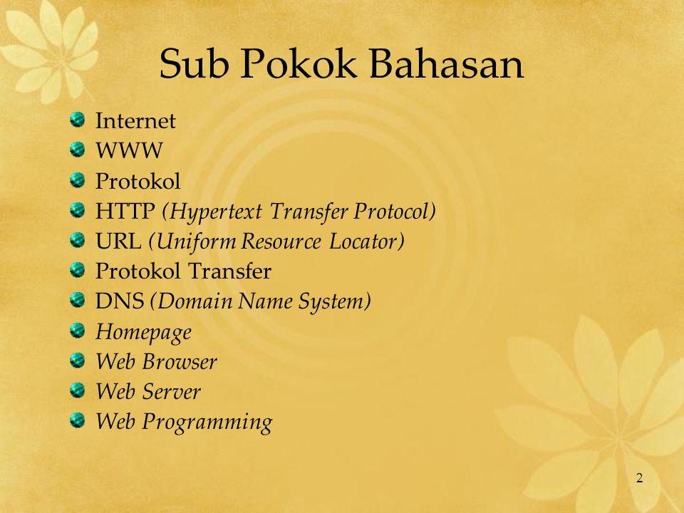 2 Sub Pokok Bahasan Internet WWW Protokol HTTP (Hypertext Transfer Protocol) URL (Uniform Resource Locator) Protokol Transfer DNS (Domain Name System)