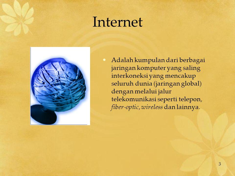 3 Internet Adalah kumpulan dari berbagai jaringan komputer yang saling interkoneksi yang mencakup seluruh dunia (jaringan global) dengan melalui jalur