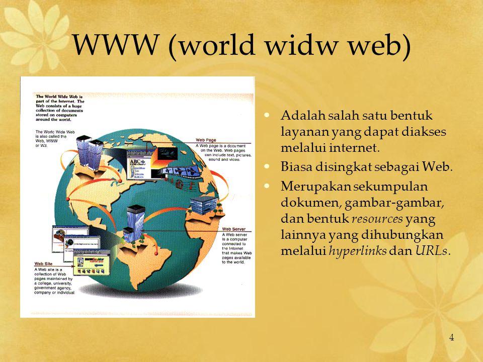 4 WWW (world widw web) Adalah salah satu bentuk layanan yang dapat diakses melalui internet. Biasa disingkat sebagai Web. Merupakan sekumpulan dokumen