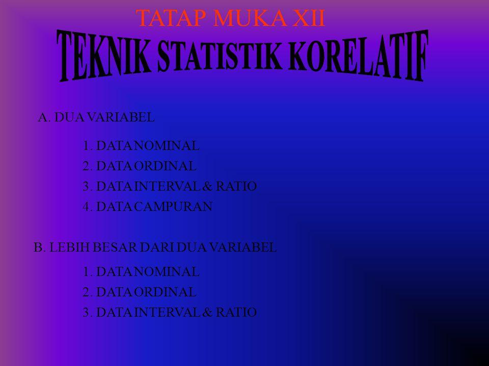 TATAP MUKA XII A. DUA VARIABEL 1. DATA NOMINAL 2. DATA ORDINAL 3. DATA INTERVAL & RATIO 4. DATA CAMPURAN B. LEBIH BESAR DARI DUA VARIABEL 1. DATA NOMI