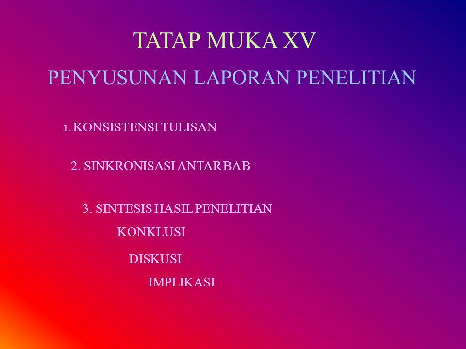 TATAP MUKA XV PENYUSUNAN LAPORAN PENELITIAN 1. KONSISTENSI TULISAN 2. SINKRONISASI ANTAR BAB 3. SINTESIS HASIL PENELITIAN KONKLUSI DISKUSI IMPLIKASI