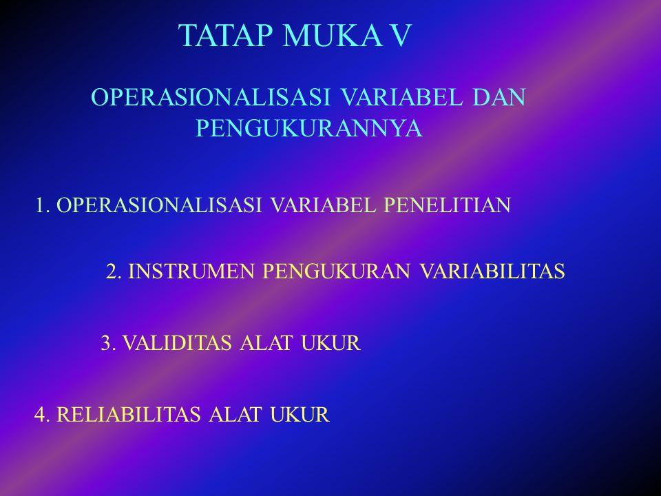 TATAP MUKA V OPERASIONALISASI VARIABEL DAN PENGUKURANNYA 2. INSTRUMEN PENGUKURAN VARIABILITAS 3. VALIDITAS ALAT UKUR 4. RELIABILITAS ALAT UKUR 1. OPER