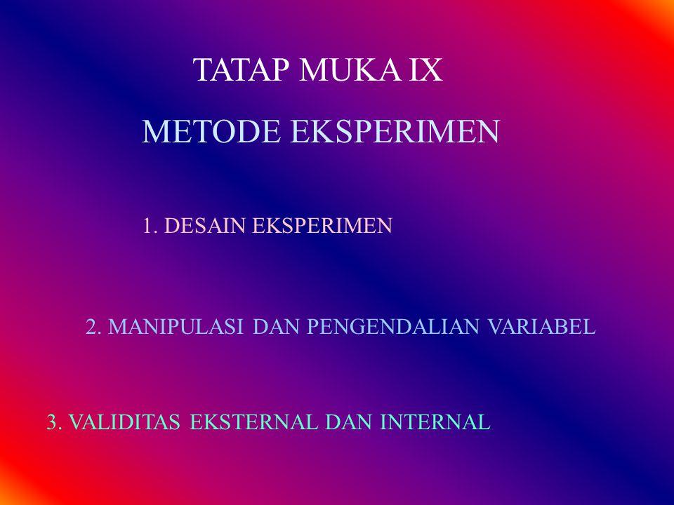 METODE EKSPERIMEN TATAP MUKA IX 1. DESAIN EKSPERIMEN 2. MANIPULASI DAN PENGENDALIAN VARIABEL 3. VALIDITAS EKSTERNAL DAN INTERNAL