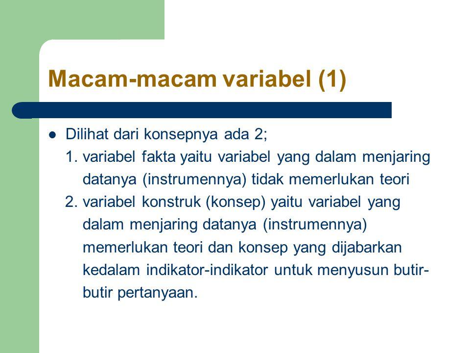 Macam-macam variabel (1) Dilihat dari konsepnya ada 2; 1.