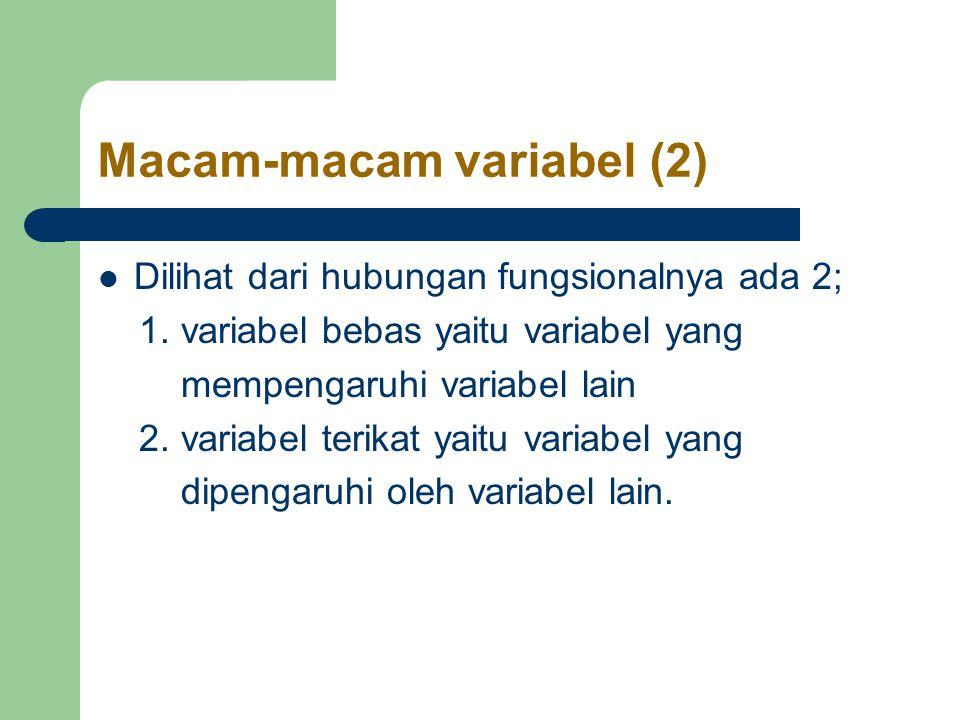 Macam-macam variabel (2) Dilihat dari hubungan fungsionalnya ada 2; 1.